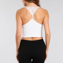 One size v-neck cropped top w/lace back detail