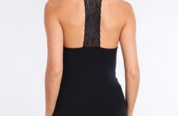 Scoop neck tank top w/lace back panel