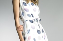 Sleeveless printed dot silk dress
